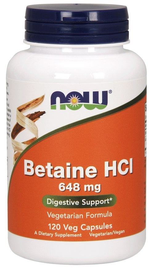 NOW FOODS Betaine HCL 648mg, 120vcaps.